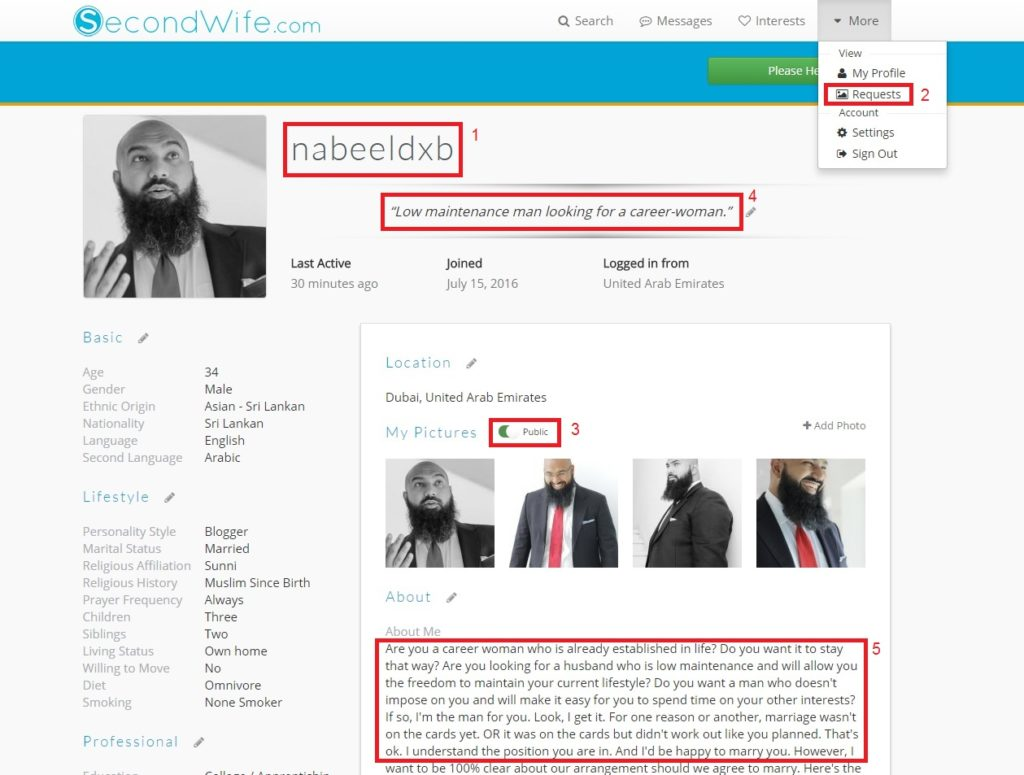 Nabeel's profile on secondwife.com