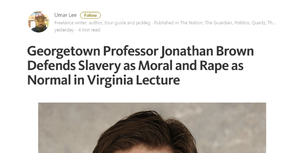 dr jonathan brown slavery in islam georgetown university