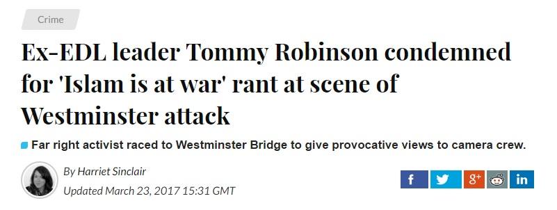 public condemn tommy robinson
