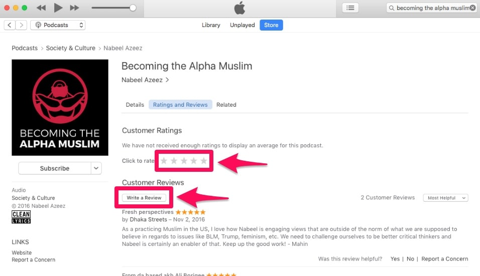 how to subscribe rate and review on itunes